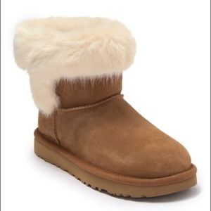 UGG Cathie Suede Faux Fur Short Boot SIZE 7